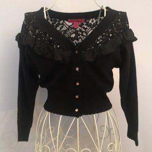 Betsey Johnson black ruffle lace cardigan